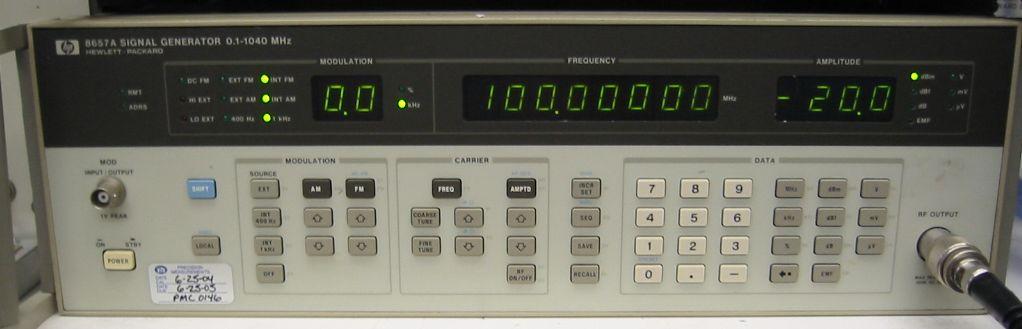 ... -127dBmto +13dBm output. opt 001. In stock. $1150. 90 day warranty: www.equiptek.net/hp8657a.htm
